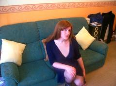 red back dress couch