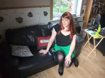 Anna Secret Poet Green Skirt on Couch 2
