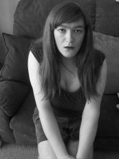 Anna Secret Poet B/W Couch Cleavage