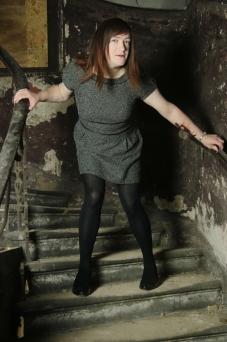 Anna Secret Poet in the creepy stairwell